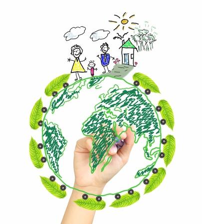 mundo manos: Mano de dibujo mundo