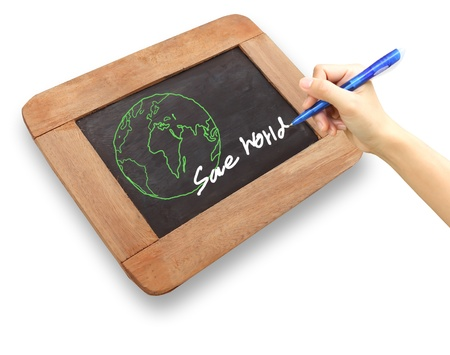 A drawing of the Earth surrounded   on a chalkboard photo