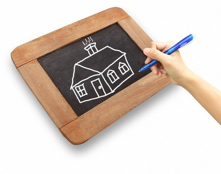 drawing of house on chalkboard photo