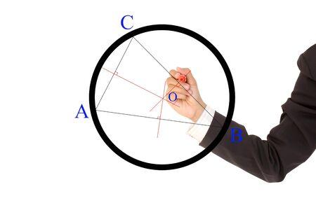 Businessman hand drawing chart photo