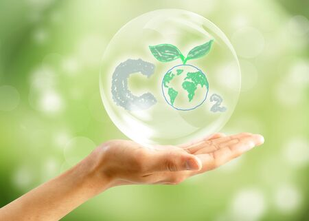 Soap bubbles on green natural background photo