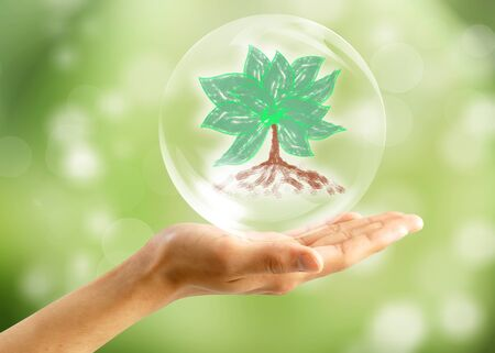 Eco concept : Hand with tree in bubbles photo