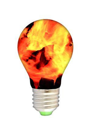 blue smoke lamp bulb art concept on white photo