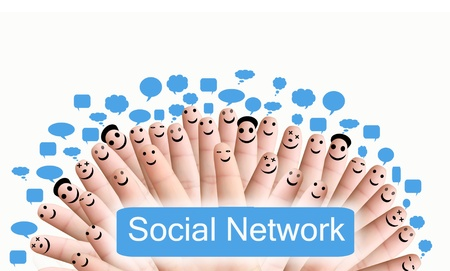 Group of finger faces with social chat sign
