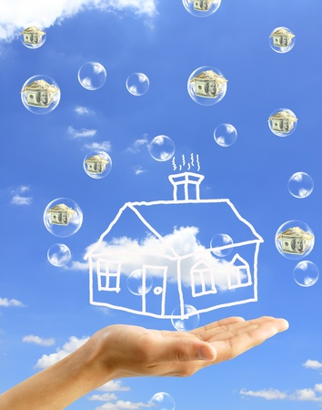 deflation: Real-Estate Bubble on the background sky