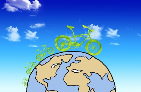 Green earth with car reduce CO2 Stock Photo - 10454430