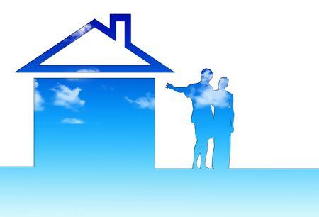 Eco house metaphor. House with sky photo