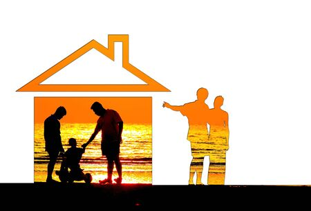 Eco house concept with sunset photo
