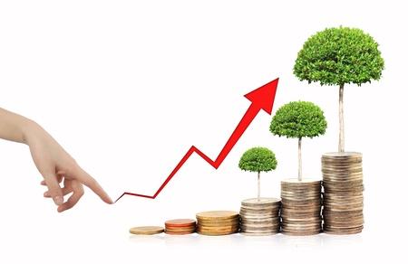 Graphe financier avec des pièces
