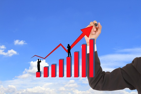 business concept with a graph and arrow photo