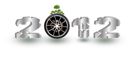 decade: the year 2012 on wheels on white background Stock Photo