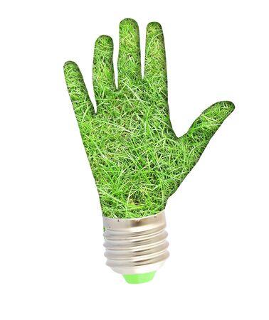 lightbulb - hand with grass. Concept - eco energy photo