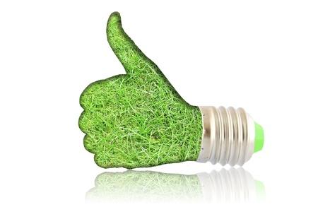 effizient: Gl�hbirne - Hand mit Gras. Concept - �ko-Energie Lizenzfreie Bilder