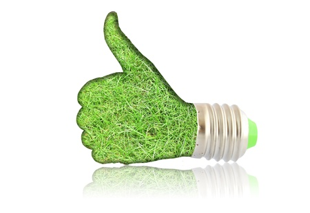 save the environment: lightbulb - hand with grass. Concept - eco energy Stock Photo