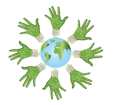 Conceptual symbol of the Earth with human hands around photo