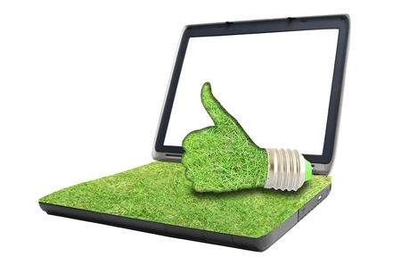 light bulb hand  on laptop photo