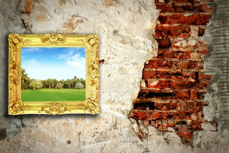 color landscape on the old wall photo