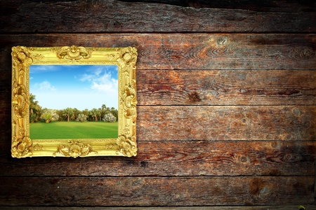 color landscape on the old wood wall photo