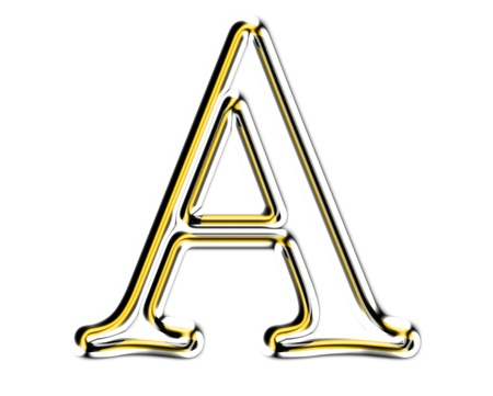 Letter A from metal solid alphabet. Stock Photo - 11507346