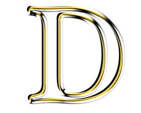 Letter D from metal solid alphabet. photo
