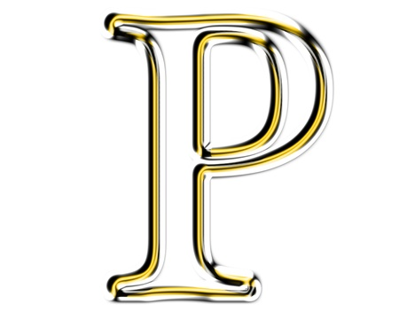 Letter P from metal solid alphabet. Stock Photo - 11507342
