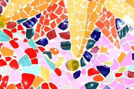mosaic wall decorative ornament from ceramic broken tile photo