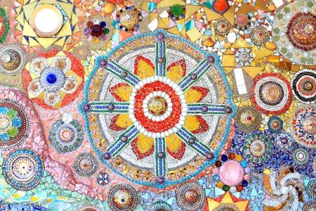 mosaic wall decorative ornament from ceramic broken tile Stock Photo - 11755218
