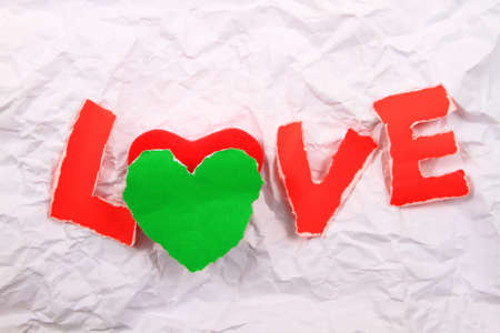 Love text   red  on a white background. photo
