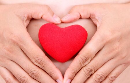 Female hands with red heart Stock Photo - 11861262