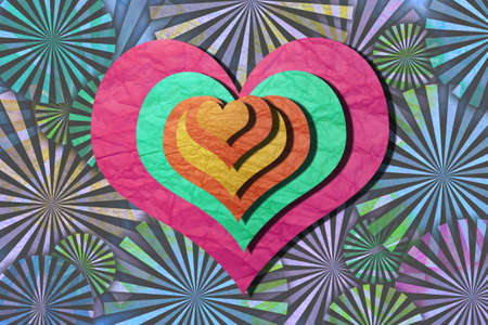 greeting card ,Valentine day ,heart and cupid on paper texture Stock Photo - 12402602