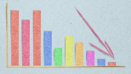 graph where the figures suddenly fall with recycled paper craft stick photo