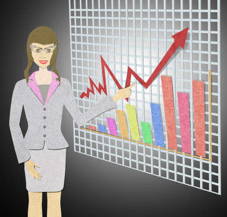 business woman with recycled paper craft stick. photo