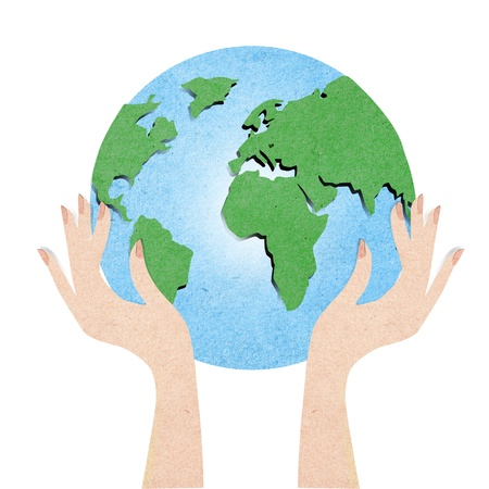 Green globe with hand recycled paper craft Stock Photo - 12402791