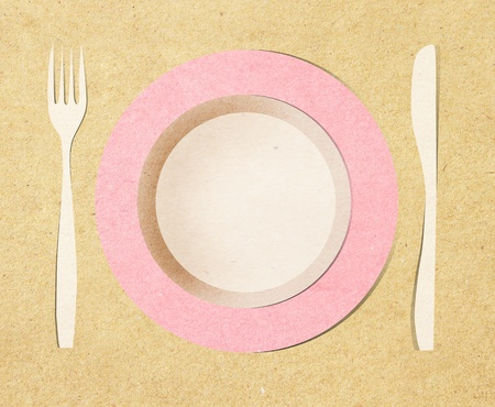 dish fork and knife recycled paper stick photo