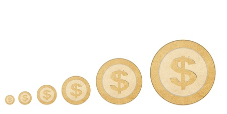 coins recycled paper stick Stock Photo