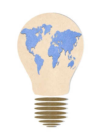 electro world: light bulb   recycled paper stick Stock Photo
