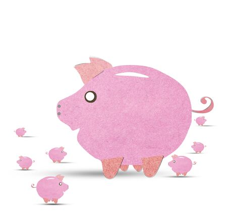 pig with recycled paper stick photo