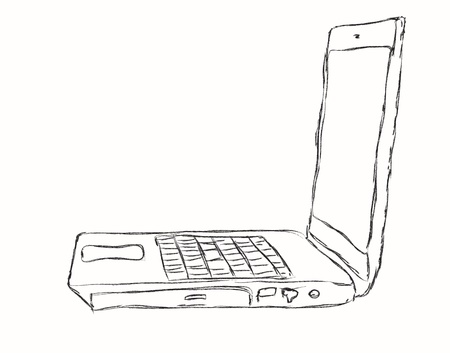 The laptop isolated on a white background photo