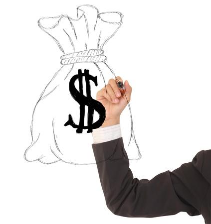 mano con dinero: Un dibujo a mano una bolsa de dinero aislados en fondo blanco Foto de archivo