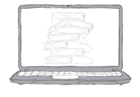 sketch Laptop with books and blank display photo