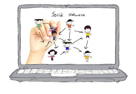 Business hands   sketch Social networking concept photo