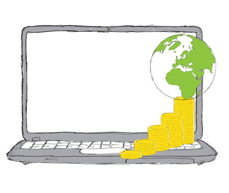 it business: Laptop with money, web and IT business concept Stock Photo