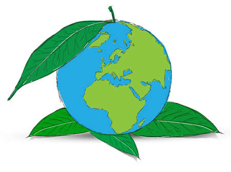 Symbol of globe with the plant Stock Photo - 12403561