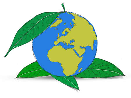 Symbol of globe with the plant Stock Photo - 12403559