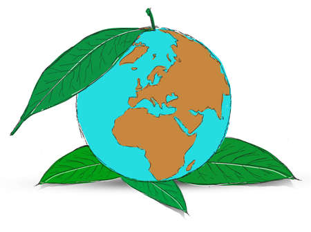 Symbol of globe with the plant Stock Photo - 12403562