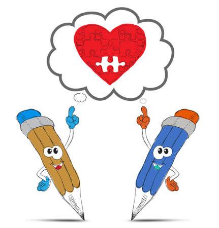 happy pencil cartoon think my red heart photo