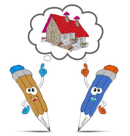 arquitecto caricatura: de dibujos animados de l�piz feliz que mi casa