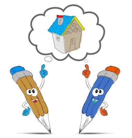 happy pencil cartoon think my home Stock Photo - 12403466