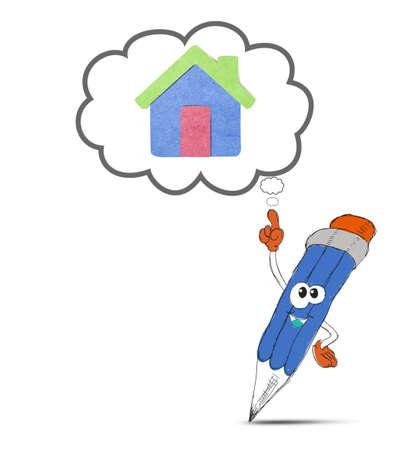 happy pencil cartoon think my home Stock Photo - 12403556
