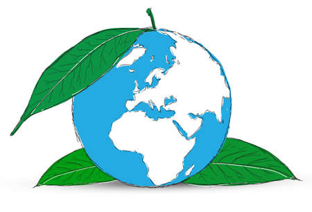 Symbol of globe with the plant Stock Photo - 12403558